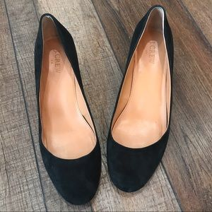 Ladies J-Crew black suede leather block heels